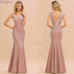 Babyonlinedress Prom Dresses 2019 Long Pink Mermaid Formal Party Gown Elegant Lace Applique V Neck Sleeveless vestidos de gala CPS1344 on Sale