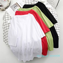 oversized tee women UK - Hirsionsan Basic Cotton T Shirt Women Summer New Oversized Solid Tees 7 Color Casual Loose Tshirt Korean O Neck Female Tops d08