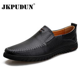 women black leather driving shoes NZ - Men Casual Shoes Brand 2020 Genuine Leather Mens Loafers Moccasins Comfy Breathable Slip on Driving Shoes Black Plus Size 37-47 CX200729