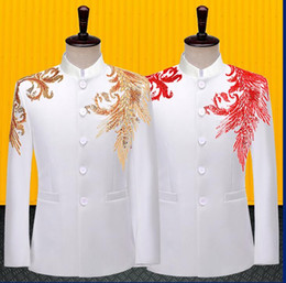 Discount dresses for singers sequins blazer men Chinese tunic suit designs jacket mens stage white costumes for singers clothes dance star style dres