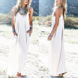 stylish maxi dresses sleeves UK - Spaghetti Strap Summer Long Dress Women Sundress 2020Female V Neck Backless Vestido Stylish Ruffle Maxi Dress Robe Femme
