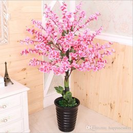 plastic christmas decor plants Canada - Artificial tree+ flowerpot peach flower fake tree potted DIY wedding garden hotel Christmas home decor tree plastic plant bonsai
