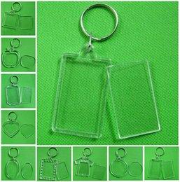 Großhandel Bilderrahmen Schlüsselanhänger Plexiglas Kunststoff Blank Keyrings Insert Passbilderrahmen Schlüsselanhänger Bilderrahmen Schlüsselanhänger Partei-Geschenk DHA450