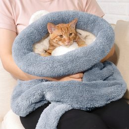 small house puppies Australia - Pet Cat Puppy Sleeping Bag Fleece Soft Warm Kitten Nest Kennel Bed Cave House Small Dog Mat Tent Winter Warm Cozy Pet Bed Supply Y200330
