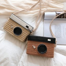 funny camera UK - J3vka 2020 new style fashion woven camera women's fashion personality funny all-match single shoulder slanting Camera small square bag small