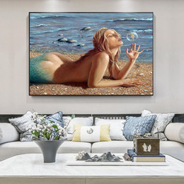 mermaid painting art NZ - Modern Nude Woman Mermaid Blowing Bubbles Canvas Painting Posters Wall Art Picture for Living Room Home Decor (No Frame)