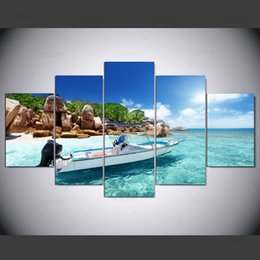 cheap wall canvas prints Canada - 5 Panel The Boat By The Sea Canvas Painting View Modular Wall Paintings Wall Art Home Decor Pictures In Cheap Price Ny-1284