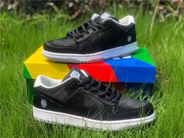 toys skating Australia - High Medicom Toy x SB Dunk Low BE@RBRICK Skate Shoes Black Sail Hairy Upper Running Shoes Men Sports Sneakers With Box