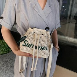 wholesale straw ladies handbags Australia - Summer Drawstring Shoulder Bags Women Beach Straw Woven Letters Embroidery Bags Ladies Crossbody Handbags For Travel WPMy#