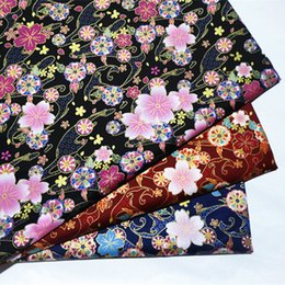 cushion printing NZ - half meter Japanese soft breeze gilt reactive print fabric for handmade DIY mouth gold package, cherry print for you B243