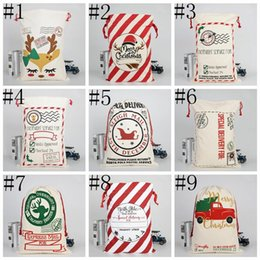 candy door gift Canada - Christmas Gift Bag Cotton Canvas Bags Christmas Candy Gift Bags Decoration Creative Santa Drawstring Canvas Santa Elk Pattern Bag ALSK235