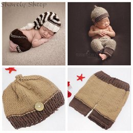 crochet birthday hat NZ - Infant Prop Clothes Newborn photography Props Baby Boy Photo Shoot Hat Pants Outfits Set foto Shooting Accessories Birthday Gift PwIb#