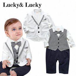 baby formal wear UK - newborn clothing sets 2020 new arrival baby boy clothes baby rompers+ coat with tie formal party wear D7zD#