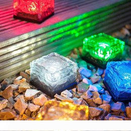 brick ice cube UK - LED Underground buried Lamp Deck IP68 path Light , White blue RGB Solar Brick Ice Cube Path Recessed led Floor Lights outdoor waterproof