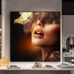 lips pop NZ - Modern Pop Art Gold Lips Women Canvas Oil Painting Fashion Sexy Posters and Prints Giclee Wall Art Picture for Living Room Home Decoration