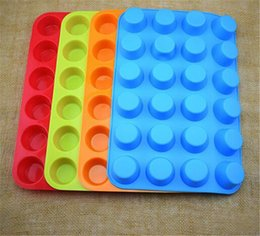 silicone trays moulds Australia - Mini Muffin Cup 24 Cavity Silicone Soap Cookies Cupcake Bakeware Pan Tray Mould Home DIY Cake Mold