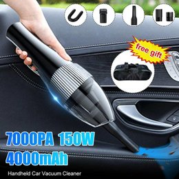 used vacuum cleaners Australia - Wireless 7000PA 150W Portable Rechargeable Car Vacuum Cleaner Handheld Wet Dry Dual Use Car Home Cleaner