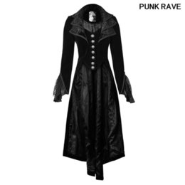 gothic collars Australia - Gothic Woman Velvet Jacquard Full Sleeve Cascade Collar Coat Tail Lace Black Vintage Long Jacket Halloween Party PUNK RAVE Y-658