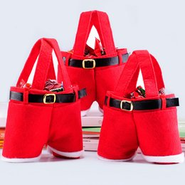 decorations for handbags 2021 - Christmas Gifts Handbag Tote Small Candy Bags Funny Santa Claus Pants Shaped 13cm Bag for Children Kids Party Decoration