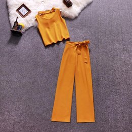 style dress trousers UK - Women Soild Halterneck Vest+Wide Leg Pants Suits Summer Short Style Jumpers Trousers Sets-c