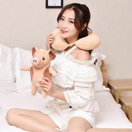 cute travel neck pillows NZ - Cute U Shaped Cartoon Pig Particle Pillow Cushion Neck Pillow Car Travel Massage Cushion Plush Toys For Children Gift bfEZ#