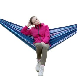 outdoor camping hammocks Australia - 1-2 People Portable Canvas Double Hammock Travel Outdoor Picnic Swing Lazy Chair Camping Hanging Hammock Bed Garden Furniture with Backpack