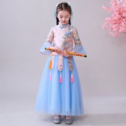 princess baby frocks UK - Baby Kids Long Sleeve Dresses for Girls Flower Girl Dress Princess Party Tutu Wedding Gown Children Clothing Lace Girl Frocks o4HA#