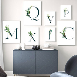 letter art alphabet NZ - Alphabet Wall Art Print Green Plants Leaf Canvas Painting Letter Poster Art Paintings Nordic Wall Pictures For Living Room Decor