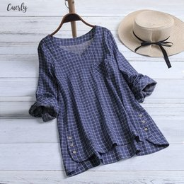 womens linen clothing plus size UK - Women Blouses With Sleeves Casual Plus Size Cotton Tops Shirt Vintage Plaid Button Loose Blouse 2020 Button Womens Summer Clothes