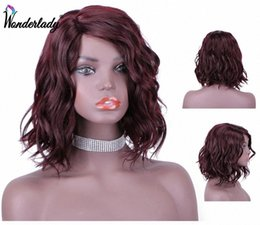 bobs for african american hair UK - Short Wavy Bob Wig Synthetic Hair For Women African American WonderLady Natural 99J Wigs Heat Resistant Cosplay Wig jNyj#