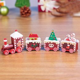 funny gifts christmas NZ - Christmas Wooden Train Wood Christmas Xmas Train Decoration Decor Gift Truck Hobby Funny KID Gift Drop Shipping @5 M8LK#