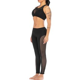 womens white yoga pants UK - Fashion Womens Perspective Solid Yoga Vest Sports Fitness Set Elastic Tops+Pants ct10