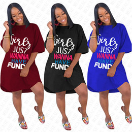 Wholesale cotton summer beach dresses for women for sale – plus size GIRLS JUST WANNA HAVE FUND Letter Oversize Dress for Women Ladies Summer Loose Dresses Solid Overall Fashion Elegent Long T shirt D71612