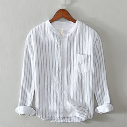 blue collar shirts Australia - 2020 brand new men's long-sleeved shirt Striped cotton and linen shirt Casual stand collar loose casual formal White Blue