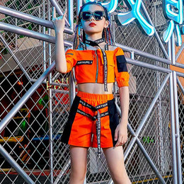 Wholesale hip hop kids outfit resale online - 2020 Girls Jazz Costumes Hip Hop Kids Crop Top Shorts Street Dance Clothes Ballroom Rave Dance Performance Stage Outfit BL4303
