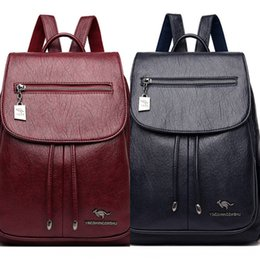 cartoon kangaroos NZ - bc84d Kangaroo genuine leather backpack women's 2019 new women's bag cowhide Korean style large capacity backpack bag fashion all-match Fash