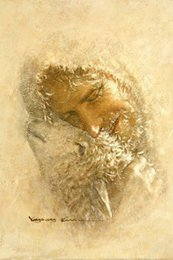christ paintings UK - Yongsung Kim Art Painting FOUND Jesus Christ Embracing a Lost Sheep   Lamb Home Decor Oil Paintings On Canvas Wall Art Pictures 200708
