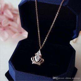 gold crowns for queens Australia - Hot Sale Luxury Queen Crown Cubic Zirconia Necklaces &Pendants Rose Gold Color Choker Necklace Chain Fashion Jewelry For Women