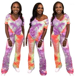 matching short suits women 2020 - 2PCS Suits Tie Dyed Womens Two Pieces Outfits Short Sleeve V Neck Suits Stacked Pants Matching Sets Casual Ladies Slim c