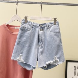 preppy style clothing Canada - 2020 Korean style 200 jin fat MM slim high waist hole denim shorts Shorts hot pants hot pants enlarged size women's clothing 8778