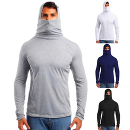 Mens T-shirt elastico fitness Hood lungo manicotto Tees Uomo maschera T-shirt Slim Fit Tops Dropshipping