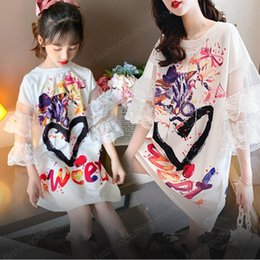 matching mommy girl clothes UK - Lantern Sleeve Mommy and Me Baby Kids Dresses for Girls Mother Daughter Pattern Print Dress New Family Matching Clothes Outfits