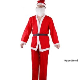 velvet cosplay UK - Adult Santa Claus Clothes Set Plush Christmas Costume Men Christmas Hat Bear Belt Sets Xmas Cosplay Clothes Decorations GGA2530