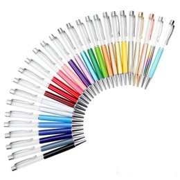 Writing Gift DIY Empty Tube Metal Ballpoint Pens Self-filling Floating Glitter Dried Flower Crystal Pen Ballpoint Pens 27 Color 86ss#