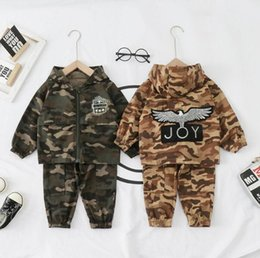 camouflage tutu Australia - Baby spring and autumn casual camouflage clothes hooded boys fashionable and handsome children's long sleeve sports zipper shirt two piece f