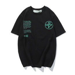 Wholesale spring t shirts for men for sale – custom WHITE early Spring NEW OFF Arrow Printing fashionable casual round neck pullover short sleeve t shirt for men and womenCRT1