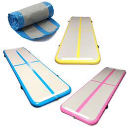 Wholesale track ship resale online - Free Pump Infatable Gymnastics Top Quality Drop Stitch Material Air Track Mat For Training Home Use Air Floor For Human