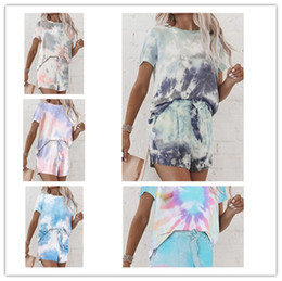 Wholesale loose pajamas shirts online – S XXL Women Tie Dye Shorts Tracksuit Summer overize loose T shirt and shorts two piece outfit sportswear NEW Ladies Pajamas Sets LY710