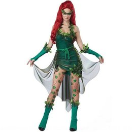 tree vines Canada - bLeor Women's Halloween Masquerade Green Tree uniform role play poison Vine cos Women's Halloween Masquerade Green Tree Demon uniform clothi