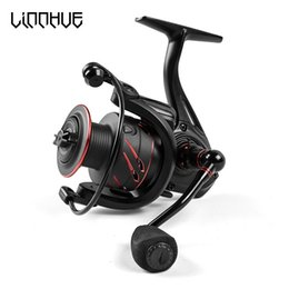 fishing black metal Canada - LINNHUE New Fishing Reel Full Metal Spool Spinning Reel 5.0:1 Max Drag 10Kg Power Smooth Sea Carp Fishing Reel Black